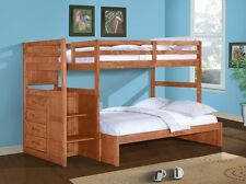 KIDS BUNK BED WITH STAIRS & BUILT-IN CHEST - TWIN OVER FULL - SOLID WOOD