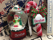 2 piece Ganz Christmas Ornaments Snow Globe & Candy Cane You Pick Name