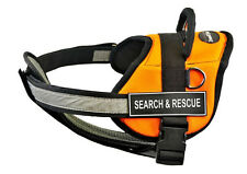 DT Works Chest Support Orange Dog Harness Velcro Patches SEARCH & RESCUE