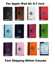 White 360 Rotating PU Leather Case Cover Apple iPad Air + Screen Protector