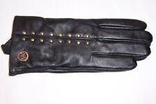 NEW MICHAEL KORS MK BLACK LEATHER GLOVES MSRP $98 535402