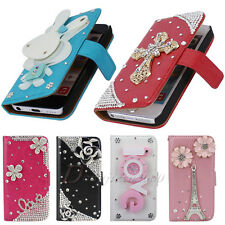 Hot Sale Bling Flower For iPhone 5C Leather Flip Wallet Pouch Stand Case Cover