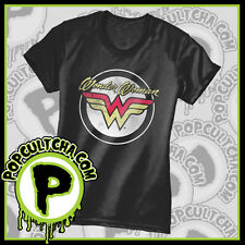 DC Comics - Wonder Woman - Round Logo Black Female T-Shirt by Caprice
