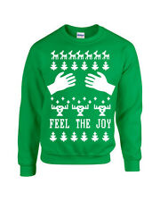 Merry Christmas FEEL The JOY Hands on Boobs Ugly Sweater Unisex Crew Sweatshirt