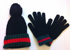 DESIGNER WINTER FASHION CABLE KNIT WOOLY BOBBLE HAT AND GLOVES BEANIE    STRIPED