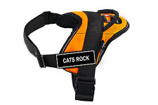 DT FUN Orange Working Dog Harness with Fun Velcro Patches CATS ROCK