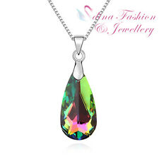 18K White Gold Plated Made With Swarovski Crystal Sparkling Teardrop Necklace