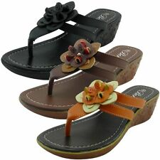 New Womens Sandals Flower Design Wedge Shoes Low Heels Flip Flops Thong YOUNG-14