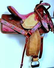 "14"" PINK New Gator Print Youth Show saddle Western Barrel Racing SHOWMAN HSBP"