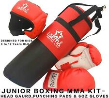 Boxing Trainer Set-Kids Filled Punch Bag Head Guard Gloves Kick Junior Children
