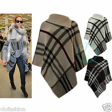 Womens Poncho Berry Tartan Check Jumper Knitted Cape Sweater Top Warm Shawl 8 16