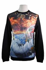 New Mens Akademiks Sublimation Crewneck Sweatshirt Outer Space Galaxy Fireworks