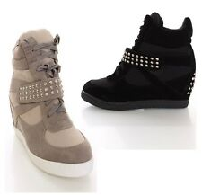 PRIORITY MAIL FAST SHIPPING! fashion hidden wedge sneakers spikes high lace up