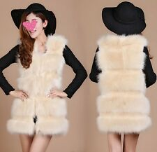 New Fashion Women's Winter Long Pattern Faux Fur Overcoat Jacket Waistcoat Vest