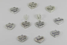 ANTIQUE SILVER SPECIAL  FAMILY MEMBER CHARM ON A BAIL BEAD OR LOBSTER CLIP ON