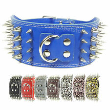 "Neck 16-24"" dog collar large Necklace Studded Leather pet big Spiked new Spikes"