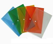 25 x A4 A5 PLASTIC STUD DOCUMENT WALLETS FOLDERS POPPERS FILING PAPER STORAGE