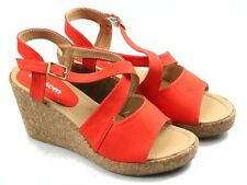 BLOSSOM. ORANGE STRAPPY WEDGES WITH BUCKLE & HOOK CLOSURE.