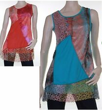 Tunic Top Size 10 - 18 LILIA WHISPERS Mint Green Rust Orange Blouse Abstract