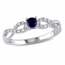 Sterling Silver Blue Sapphire and Diamond Crossover Ring .33 Ct G-H I2-I3