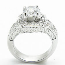 Womens 925 Sterling Silver Diamond Cut Wedding Engagement Ring Bridal Set Band