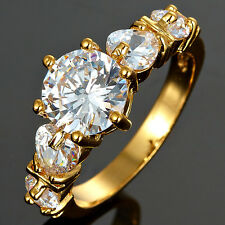 Wedding Party Jewelry Yellow Gold Plated Fashion Engagement Ring Size 6/7/8