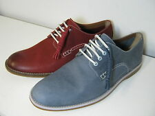 Mens Clarks Farli Walk Denim Blue Or Red Leather Smart Lace Up Shoes G Fitting