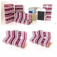 Aztec Pink Wallet Case For Nokia 520,S3,S4,S3mini,4S,5S,Htc one,i8160,s5830 Ace