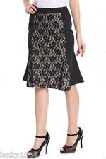 Flared Hem Black Mix Lace Panel Party Evening Flared Midi Skirt (NEW) Diff Sizes