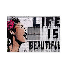 Life Is Beautiful Banksy Canvas Print Painting Reproduction