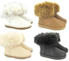 LADIES FLAT ANKLE FAUX FUR COMFY SNUGG WARM WINTER HARD SOLE BOOTS SHOES UK SIZE