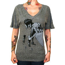Women's Muse By Tyson Mcadoo V Neck Dolman T-Shirt Tattooed Lady Pinup Art