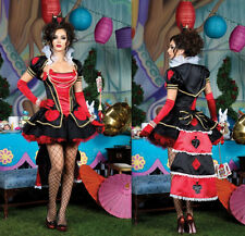The Queen of Hearts Girl Dress Womens Adult Halloween Costume+Stocking S/M