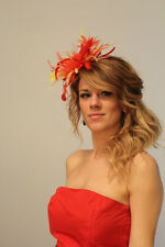 Red & Yellow Wedding Feather Fascinator Hat Choose any colour Satin Feather