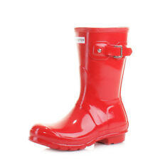 Womens Hunter Original Short Red Gloss Wellies Wellington Boots Size 3-8