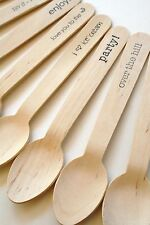 Disposable and Compostable Wooden Spoons - 20 Pieces - Your Phrase Choice