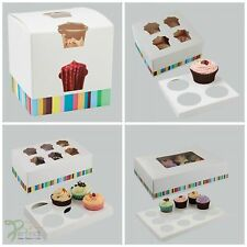 Strong White Border Stripe Design Cupcake Muffin Boxes 1, 4, 6 or 12 Cup Cakes
