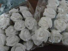 25mm FOAM ROSES ON STEMS 20 PACK WEDDING SCRAP BOOKING CRAFTING WHITE IVORY