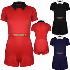 Womens Ladies Collared Short Sleeve Gold Plated All In One Shorts Piece Playsuit