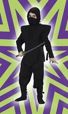 CHILDRENS BOYS JAPANESE NINJA WARRIOR COMPLETE BLACK COSTUME - 3 SIZES