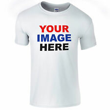 PERSONALISED WHITE T-SHIRT YOUR DESIGN PRINTED LOGO TEXT STAG / HEN DO