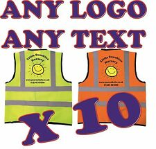 10x Personalised Kids High Visibility Safety Vests Hi Vis Waistcoat Your Design