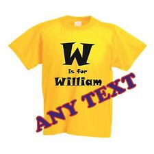 Personalised children T-shirt in bright colours. GIFT 100% Cotton Cre Neck