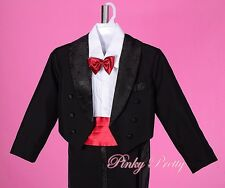 5pcs Formal Tuxedo Suit Wedding Pageboy Christening Baby Size 6m - Boy 7y BV011