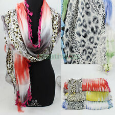 Fashion Women's Shine Glitter Leopard Chiffon Trim Lace Tassel Long Scarf Shawl