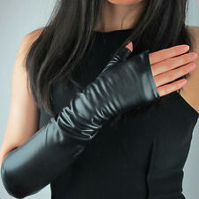 "Real Leather Fingerless Gloves Arm Warmer 16"" 40cm Long Black Opera Evening"