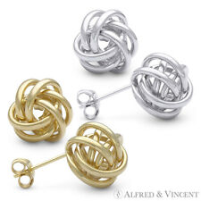 14kt Solid Yellow / White Gold 11mm Love Knot Stud Earrings 14k 14 kt Studs