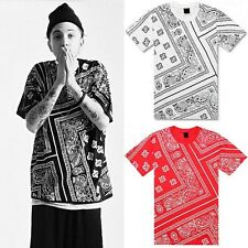 New Hip Hop Mens T Shirt Allover Paisley Bandana Print Graphic Tee Black White