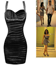 CELEB BLACK SWEETHEART SEQUIN JEWEL RIPPLE TAFFETA BODYCON PENCIL DRESS UK 8-16