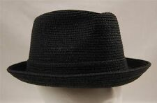 """New Mens Bailey Of Hollywood Straw Pinch Top Crown """"Billy"""" Fedora Black S-2XL"""